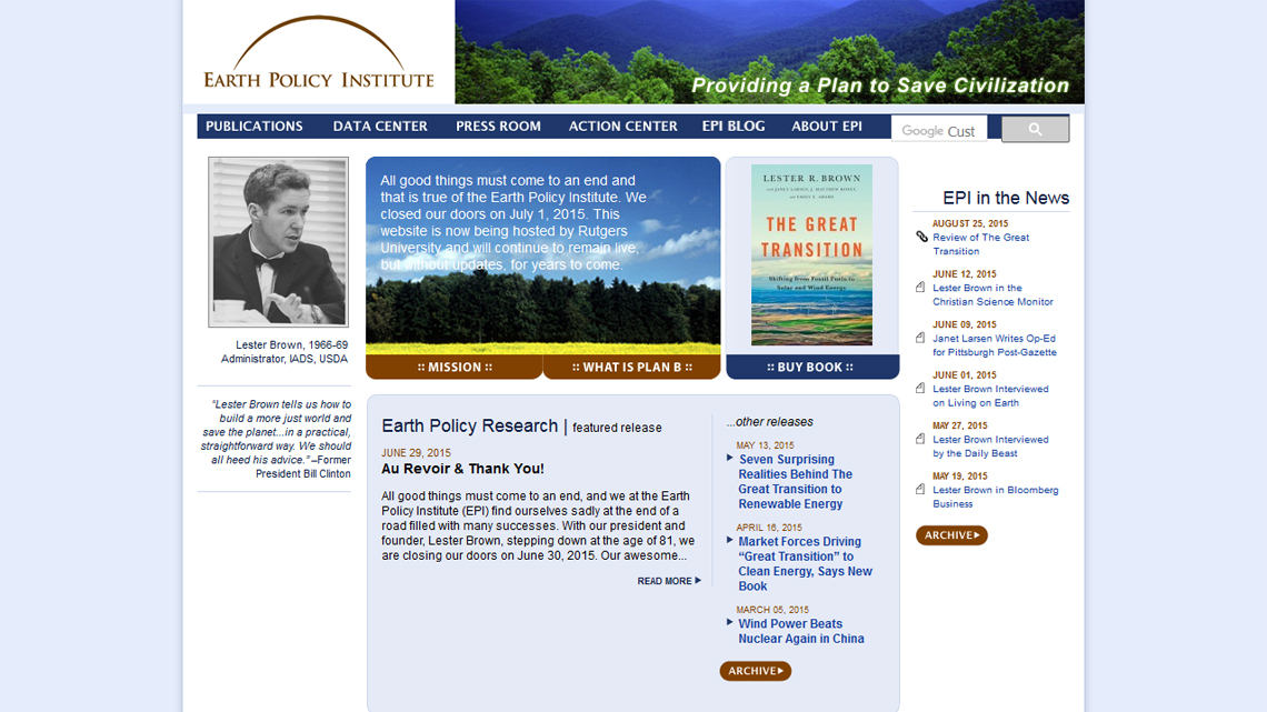 Earth Policy Institute, Expression Engine