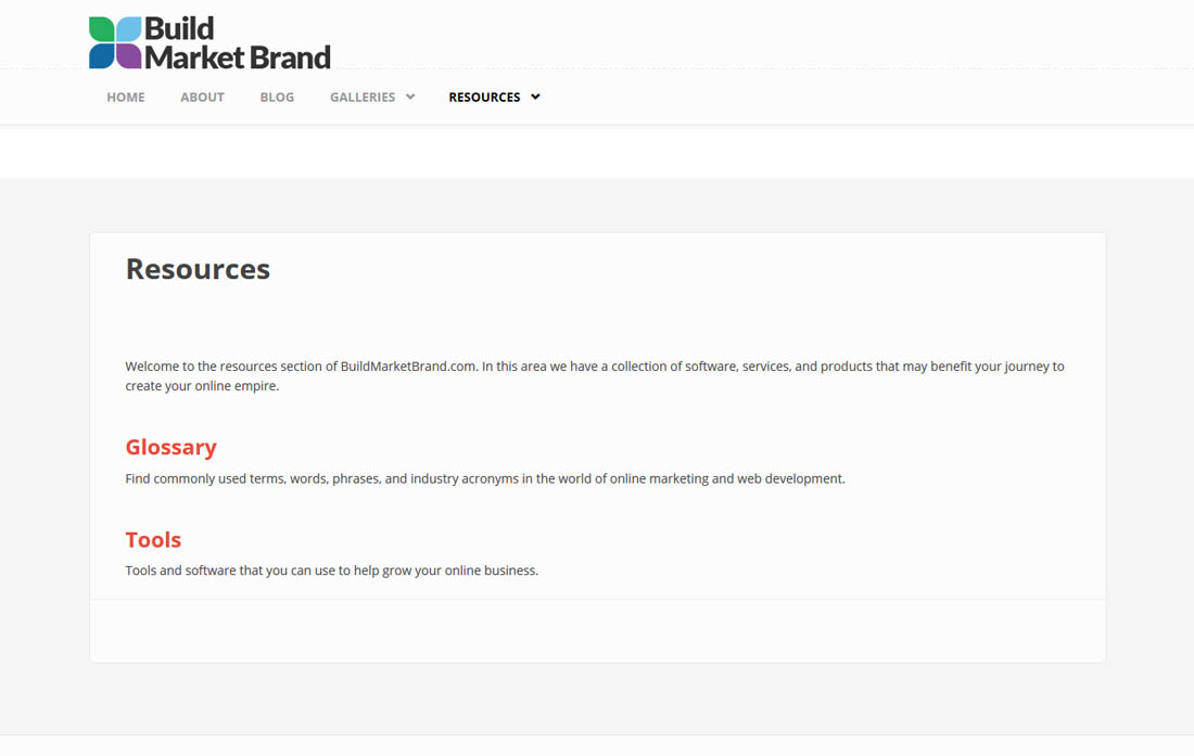 Building a Website - Resources Page